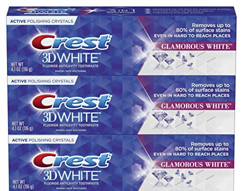 CREST 3D WHITE LUXE GLAMOROUS WHITE TOOTHPASTE 3 PACK REMOVES 90% OF SURFACE STAINS