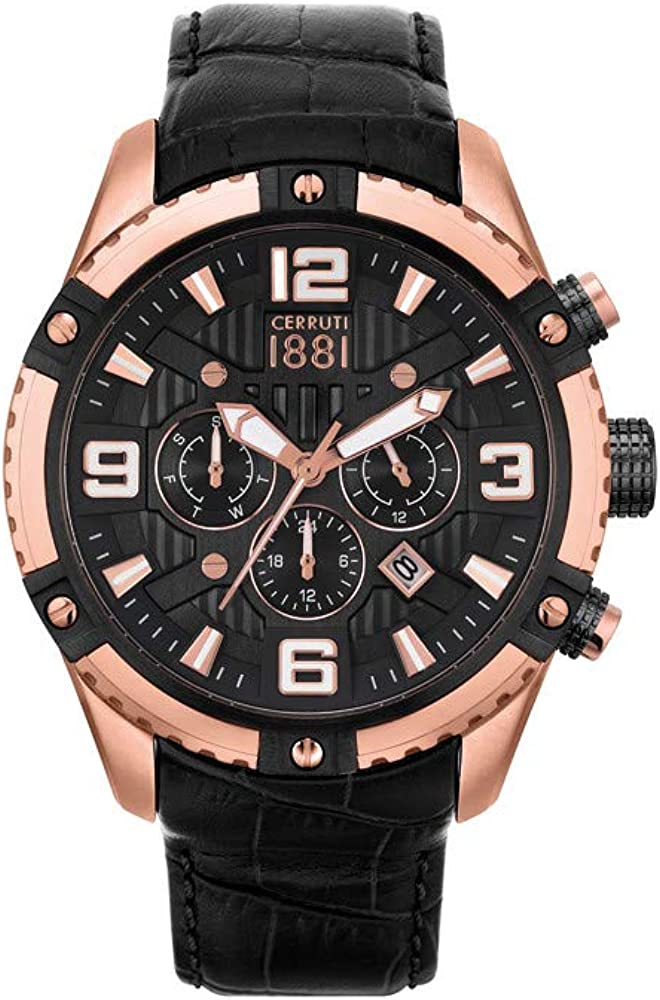 Cerruti 1881,orologio da uomo con cronografo,in acciaio e cinturino in vera pelle CRA20101