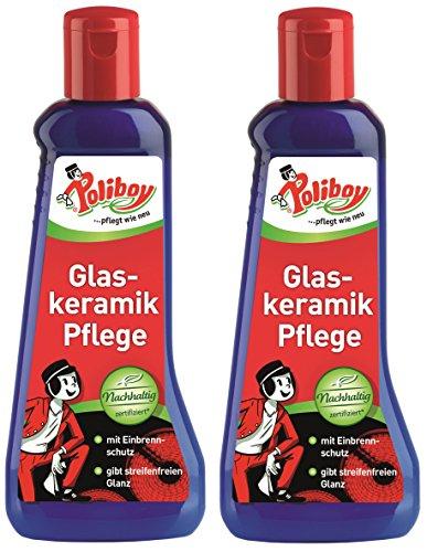 Poliboy Glazen keramische verzorging - reiniging en onderhoud van glaskeramische kookplaten - geeft streepvrije glans - set van 2 - 2x200 ml (400ml) - Made in Germany
