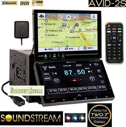 Soundstream AVID-2S same as VRN-DD7HB Multimedia System Two Dual 7' Displays Double DIN Bluetooth car GPS Navigation/DVD/CD/AM/FM USB/SD Stereo Receiver Glass w/SmartSense Touchscreens