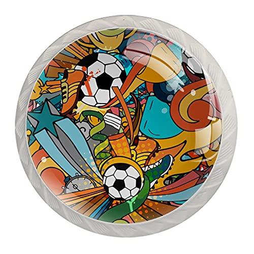 Patrón sin costuras con pelota de fútbol, pomos de cajón para puerta de gabinete (paquete de 4) redondo sólido para oficina, hogar, cocina, baño