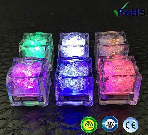 Eis-LED-LichtervonAieve 24LED-Eiswürfel mehrfarbige Dekorationslichter Farbe wechselnde LED-Eiswürfel für Champagner Party Hochzeit Club Bar