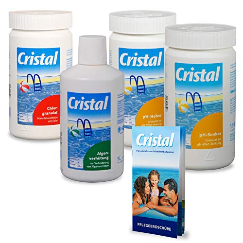 POOL Total Cristal Set Wasserpflege Chlor (5 TLG.)/ Chlor- Set zur Wasserdesinfektion/Poolpflege Wasserpflege