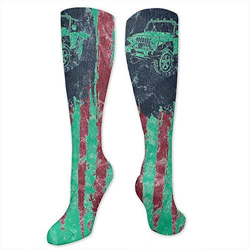 WlyFK 3D-Gedruckte Kompressionssocken Für Männer Und Frauen - Amerikas Retro-Jeep-Autoflagge Der Vereinigten Staaten - Beste Athletische Medizinische Kniehohe Lange Socken
