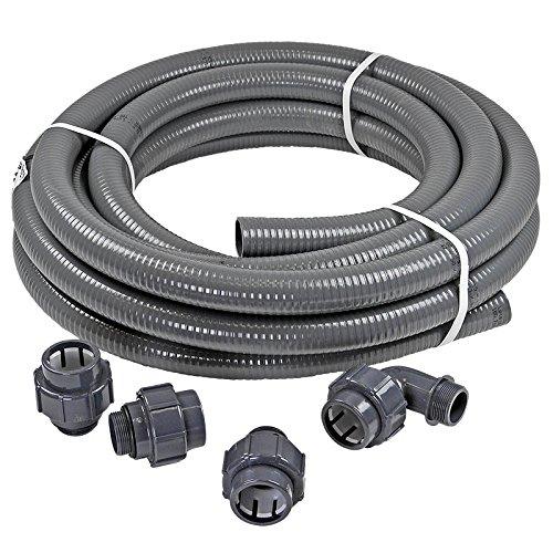 Pool- Anschluss-Set 12,0 m Flexfit Flexibler PVC Druckschlauch Ø 50mm + Fittinge