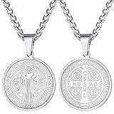 FaithHeart Colgante Redondo Moneda Circular de San Benedicto de Nursia Collar Acero Inoxidable Platino Plateado Joyería Religiosa Amuleto de Protección