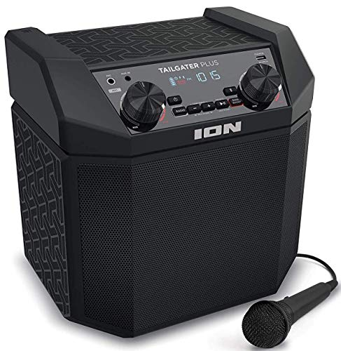 ION Audio Tailgater Plus - Bluetooth Lautsprecher Mobile Musikanlage mit Mikrofon, Radio, wiederaufladbarem Akku, 50 Watt