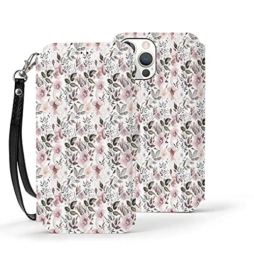 Funda para iPhone 12,Funda Tipo Cartera para iPhone 12 con Tarjetero,Flores otoñales de Acuarela en Color Rubor en Blanco