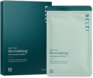 Amazon-merk - Belei - revitaliserende hydrogel, druppelvrij masker met druivenextract, verpakking van 10 stuks
