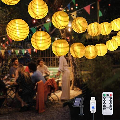 Flintronic Solar LED Lampion Lichterkette, 50 LEDs 9.5Meter Außen Lichterkette Laterne, Warmweiß Wasserdichte LED mit Fernbedienung für Party, Weihnachten, Garten, Balkon,Terrasse