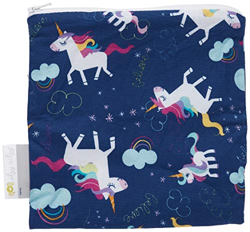 """Itzy Ritzy Reusable Snack Bag – 7"""" x 7"""" BPAFree Snack Bag is Food Safe Washable and Ideal for Storing Snacks Pacifiers Electronics and Makeup in a Diaper Bag Purse or Travel Bag Unicorn Dreams"""