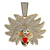 VIVUJOY - Iced Out Broly Pendant Necklace Jewelry Gifts - 24inch Chain Style 3
