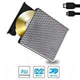 Lecteur Graveur Blu Ray Externe DVD CD 3D, USB 3.0 & Typ-C Slim Portable Lecteur Blu-Ray BD CD RW ROM pour PC Mac Windows 7 8 10 XP