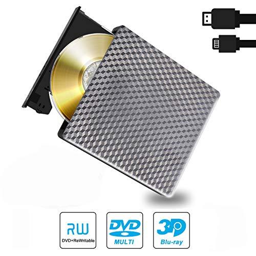 Externa DVD BLU Ray 3D Lector, USB 3.0 & Type C Bluray CD DVD RW ROM Grabadora Reproductor Portatil para PC MacBook iMac Mac OS Windows 10/7/8/Vista/XP