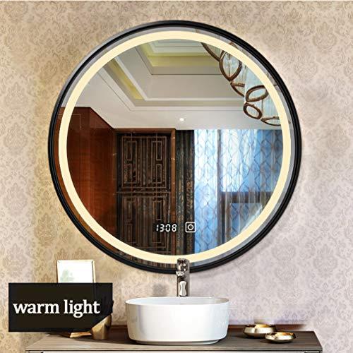 Badezimmer Wandspiegel Beleuchteter Wandspiegel, LED-beleuchteter Badezimmerspiegel, mit Touch-Taste, elektronischer Uhr, poliertem Rand und Edelstahlrahmen, weißes/warmes Licht