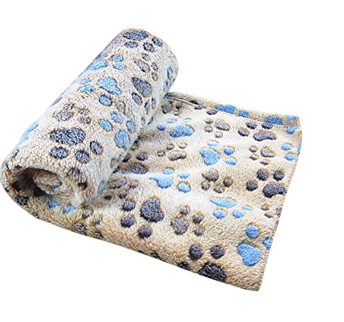 Freerun Pet Dog Cat Soft Warm Bed Blanket Mat Paw Print Custhion (Coffee, S)