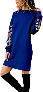 Howely Womens Relaxed Lounge Crew Neck Floral Print Long-Sleeve Party Dress