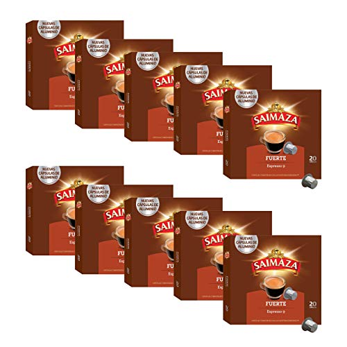 Saimaza Café Fuerte Espresso 9 - 200 cápsulas de aluminio compatibles con máquinas Nespresso (R)* (10 Paquetes de 20 cápsulas)