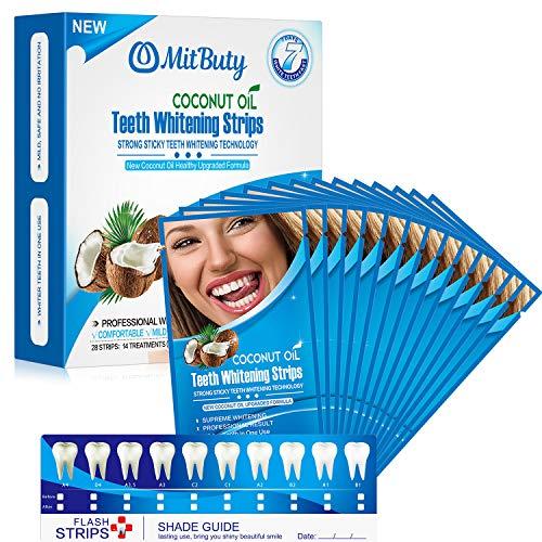 MitButy Tiras Blanqueadoras de Dientes con Aceite de Coco Natural, 14 Tratamientos – Tiras de Blanqueamiento Dental Profesionales con Efectos Seguros, 28 Tiras Blanqueadoras Antideslizantes