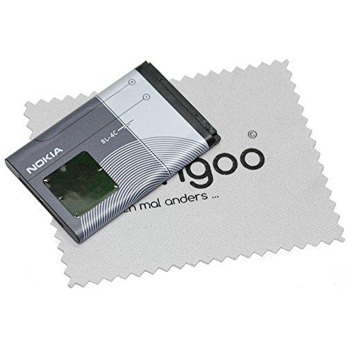 Akku für Nokia Original BL-4C LiIon für Nokia 6101, 6102, 6103, 6125, 6131, 6136, 6170, 6260, 6300, 6300i mit mungoo Bildschirmputztuch