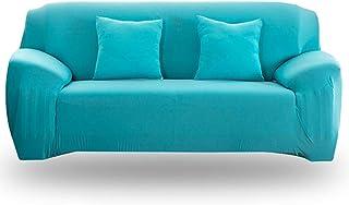 Dong - Funda elástica para sofá de 24 colores para elegir color sólido fundas para sofá azul celeste 2-seater 145-185cm