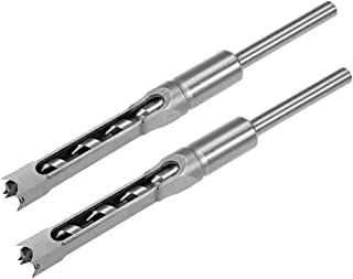 uxcell Square Hole Drill Bit for Wood 1/2 inch Hollow Chisel Mortiser Auger Spur Cutter Tool, High Carbon Steel for Woodworking Carpentry 2pcs