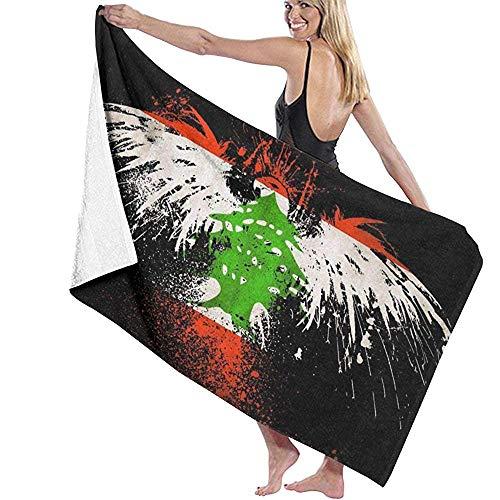 Olie Cam Toallas de Playa de Microfibra con Bandera de águila libanesa Toallas de Piscina súper absorbentes de Secado rápido