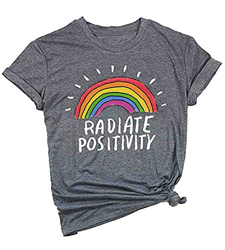 Mahrokh Women Radiate Positivity Rainbow Shirt Funny T Shirts Short Sleeve Graphic Tees Casual Tops