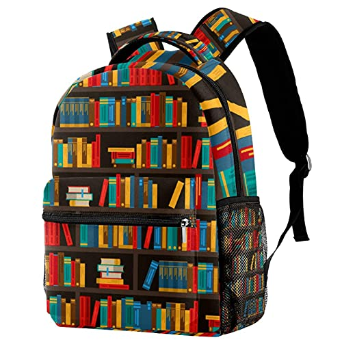 School Backpack Purse Book Bag with Zipper for Teens Students Waterproof Laptop Bag Daypacks Great Gift for Men Women Book Shelves Decorative Colorful