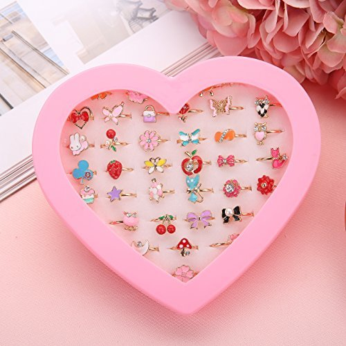 Fineder 36pcs Little Girl Adjustable Rings in Box, Children Kids Jewelry Rings Set with Heart Shape Display Case, Girl Pretend Play and Dress up Rings, Christmas gift for Kids