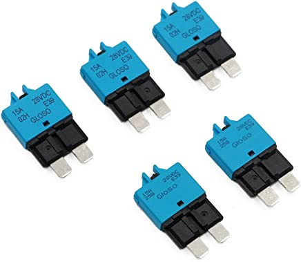 5pcs 15A 14Vdc Auto Reset Circuit Breaker ATM Mini Blade Fuses