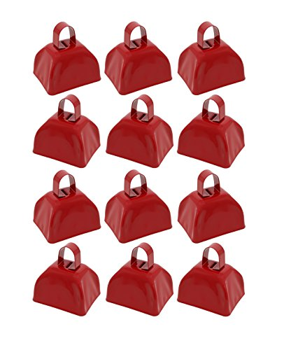 Metal School Cowbells - Set of 12 Red Metal Cowbell Noisemakers (Red Cowbells)