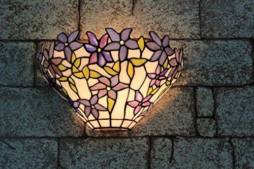 Broncos de 12 pulgadas de cristal de Tiffany lámpara de pared de las violetas Pastoral manchado de la vendimia Pasillo aplique de la pared accesorio de la lámpara