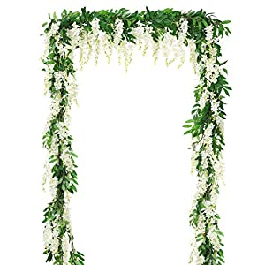 DearHouse 2Pcs 6Ft/Piece Artificial Flowers Wisteria Garland Artificial Wisteria Vine Hanging Flower Greenery Garland for Home Garden Outdoor Wedding Arch Floral Decor (White)