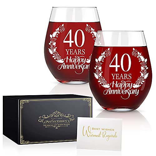 Perfectinsoy 40 Years Happy Anniversary Wine Glass Set of 2, 40th...