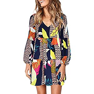 Women's Cute Printed V Neck Long Sleeve Casual Swing Ruffle Dress