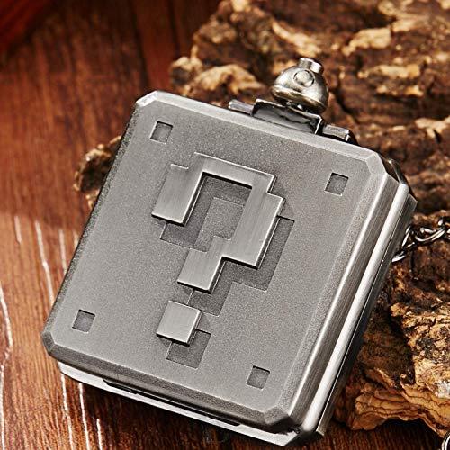 J-Love Antiguo Mario Retro Pixel Caja de Preguntas Cuarzo Número Grande Único Cuadrado Collar de Cuarzo Reloj Colgante Regalo