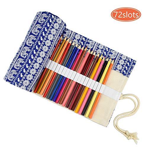DESON 72 Löcher Stifterolle Verpackungshalter Bleistift Rolle Stiftehalter Bleistift Wrap rollmäppchen für Künstler Schuler Büro Art Kraft