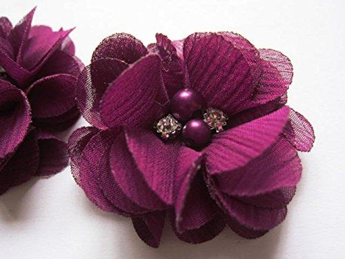 YYCRAFT 20 Stück Chiffon Blumen mit Strass und Perlen Hochzeit Dekoration/Haar Accessoire Handwerk/Nähen Craft(Deep Plum,5cm)