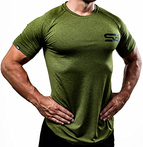 Satire Gym - Fitness Slim Fit T-Shirt Herren/Funktionelle & schnell trocknende Sportbekleidung für Herren – Herren Fitness Shirt als Bodybuilding Shirt & Workout Gym Shirt (L, olivgrün meliert)