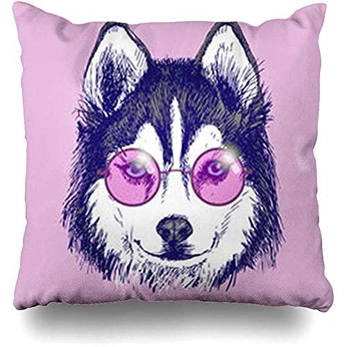 Throw Pillow Cover Sketch Husky Dog Redondo Gafas rosas Mano en Vida Silvestre Hipster Boho Hippie Face Funda de almohada abstracta Tamaño cuadrado 18 x 18 pulgadas Home Sofá Cojín Funda de decoración