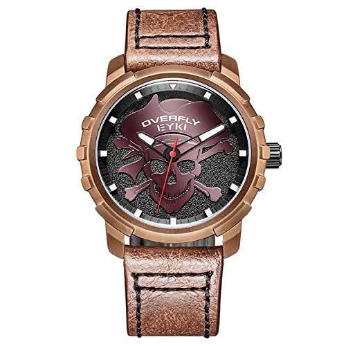 Armbanduhr,Netto Rot Schädel Gesicht Zifferblatt Trend Mode Quarzuhr, Kaffee Fall Schwarzes Gesicht Kaffee Gürtel