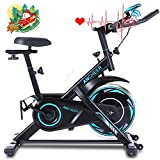 ANCHEER Indoor Exercise Bike Stationary, Belt Drive Cycling Bike with Heart Rate Monitor & Comfortable Seat Cushion & LCD Monitor, for Home Office Exercise