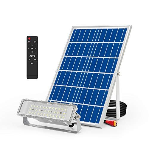 Projecteur Solaire Exterieur LED 1700LM, 6000K Blanc Froid Lumière dinondation avec Télécommande, Étanche IP65 Lumière Extérieure pour Garage, Piscine, Rue, Panneau daffichage