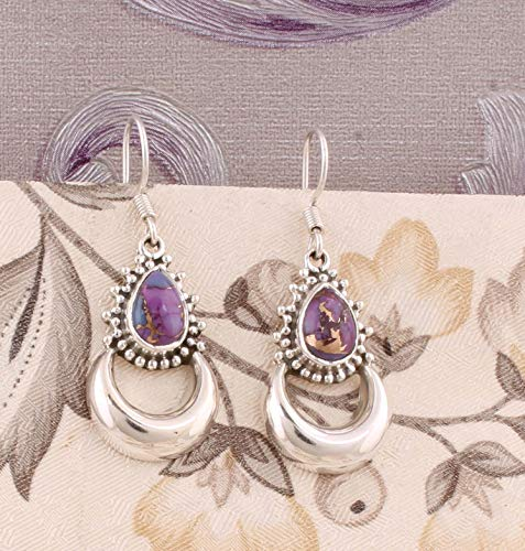 Pendientes de turquesa púrpura pera, pendientes de gota, pendientes colgantes, pendientes de plata esterlina para mujeres Sterling Silver Drop Earrings