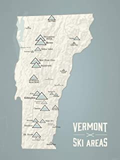 Vermont Ski Resorts Map 18x24 Poster (Beige & Slate)