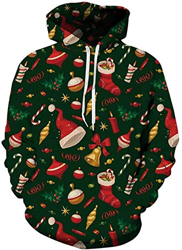 Unisex Adult Hoodies Christmas Costumes 3D Printed Fashion Pullover Sweatshirt with Pocket-Christmas Green_Small-Medium