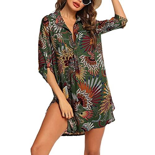 BIBOKAOKE Vestido de playa para mujer, traje de baño, camiseta larga, camisa de playa, poncho de playa, traje de baño, ropa de playa, camiseta informal, vestido de blusa