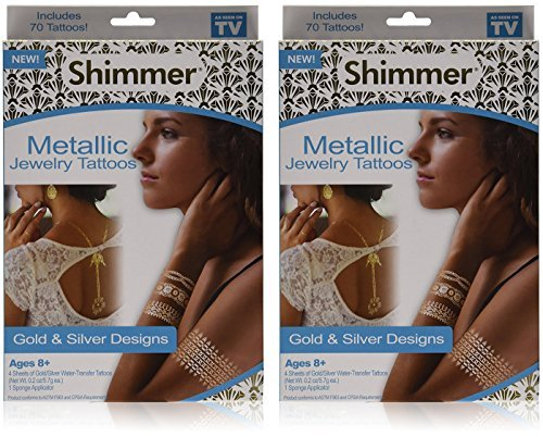 As Seen On TV Shimmer Metallic Jewelry Tattoos 2 Pack