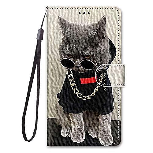 Miagon Full Body Flip PU Leder Schutzhülle für Samsung Galaxy S30,Bunt Muster Hülle Brieftasche Case Cover Ständer mit Kartenfächer,Cool Katze